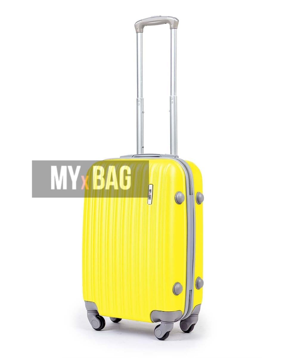 Дорожный жёлтый чемодан из АБС пластика для ручной клади фото 1