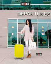 Дорожный жёлтый чемодан из АБС пластика для ручной клади фото 2